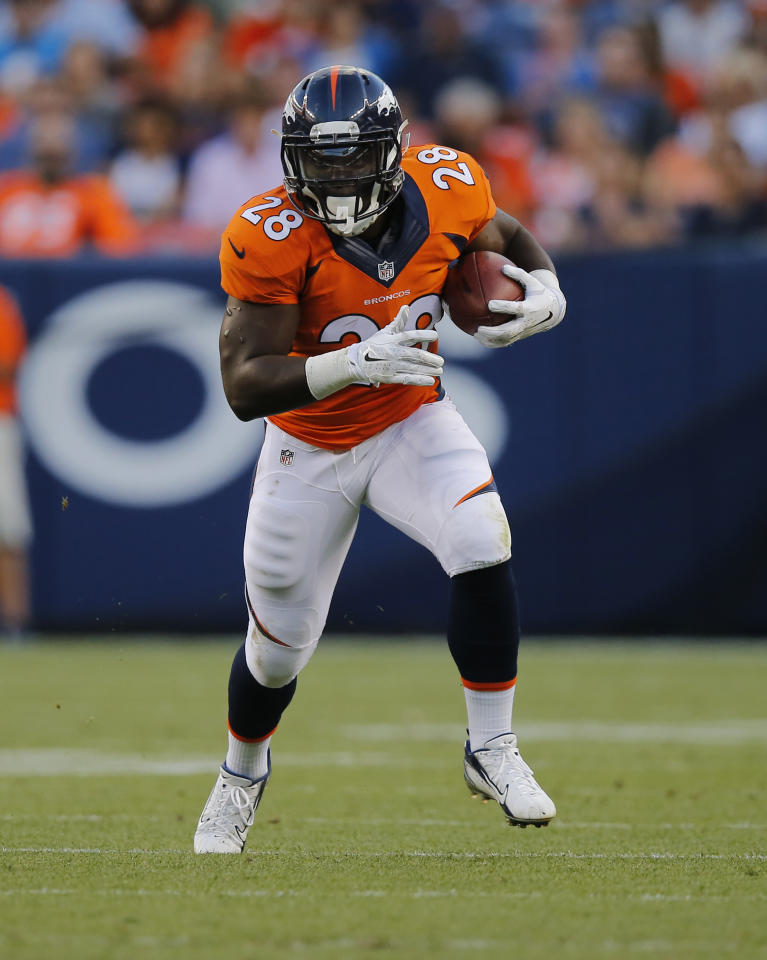 Denver Broncos running back Montee Ball (28) runs against the Houston Texans during an NFL preseason football game, Saturday, Aug. 23, 2014, in Denver. (AP Photo/Jack Dempsey)
