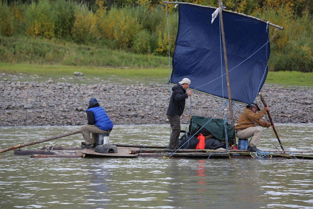 Yukon River, Alaska, USA: Dallas Seavey, Tyrell Seavey & Austin Manelick on their raft.
