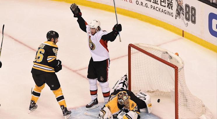 Bruins' second period frenzy not enough to beat Senators in Game 3