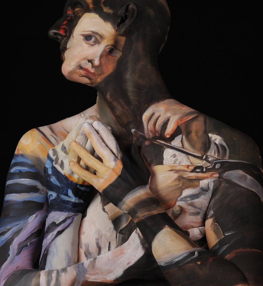PIC FROM CATERS NEWS / CHADWICK AND SPECTOR - (PICTURED Saint Agatha, after Orazio Riminaldi) - This is the man who really does suffer for his art - staying COMPLETELY STILL for up to 15 hours at a time to be painted. But this is no ordinary still life, bizarrely Chadwick Grays body is actually used as a canvas for his friend and fellow artist, Laura Spector. SEE CATERS COPY