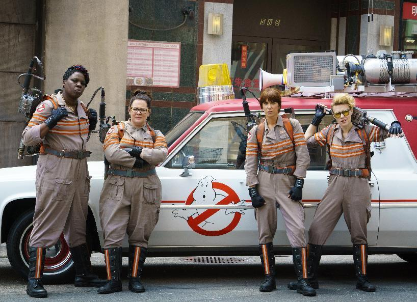 "FILE - In this image released by Sony Pictures, from left, Leslie Jones, Melissa McCarthy, Kristen Wiig and Kate McKinnon from the film, ""Ghostbusters."" Hollywood has turned its eye to gender swaps as the latest ploy to refresh dusty intellectual property. Now it's clear ""Ghostbusters"" was just the beginning. There's that female-led installment of the ""Ocean's Eleven"" series on the way, ""Ocean's Eight"" starring Sandra Bullock, Anne Hathaway, Cate Blanchett and Rihanna, a ""Splash"" remake with Channing Tatum as the mermaid, a ""Dirty Rotten Scoundrels"" with Rebel Wilson, and even a ""Rocketeer"" reboot with a female lead in various stages of development. (Hopper Stone/Columbia Pictures, Sony via AP, File)"