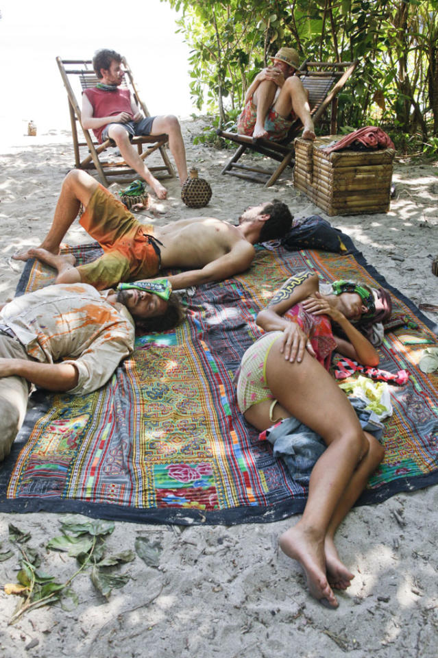 """""""Cut Off the Head of the Snake"""" - The tribe relaxes at camp during the ninth episode of """"Survivor: Caramoan - Fans vs. Favorites."""""""
