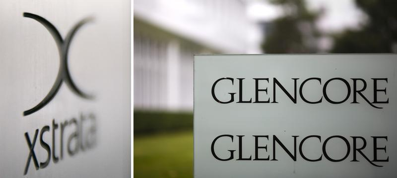 File photo of company logos of Glencore and Xstrata