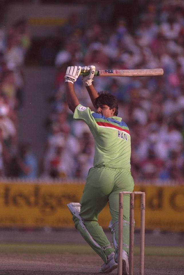 Mar 1992: Inzamam ul-Haq in batting action during his innings in the Cricket World Cup final between Pakistan and England played at the MCG in Melbourne. Pakistan won the match to lift the trophy for the first time.