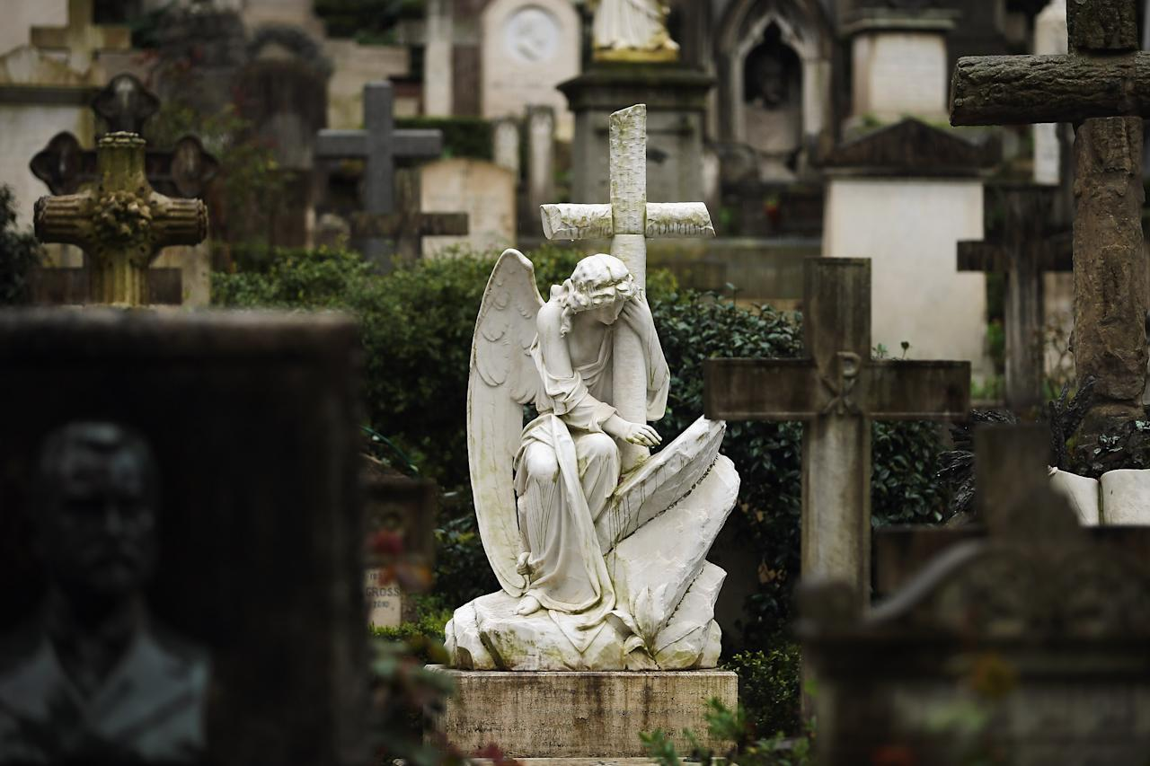 ROME, ITALY - MARCH 26:  A gravestone stands in Rome's 'Non Catholic Cemetery' on March 26, 2013 in Rome, Italy. Rome's Non-Catholic Cemetery contains one of the highest densities of famous and important graves anywhere in the world including John Keats, one of England's most famous poets, who died early in 1820 of tuberculosis aged 25, after travelling to Italy in search of a better climate to help cure him of the disease. As well as being the final resting-place of the poets Percy Shelley and John Keats, it is also home to graves of many other painters, sculptors and authors who died in Rome. The cemetery which began it's use in 1730 continues today, containing graves of Orthodox Christians, Jews, Muslims and other non-Christians, and is one of the oldest burial grounds in Europe.  (Photo by Dan Kitwood/Getty Images)