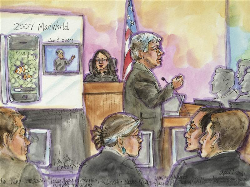 Apple attorney Harold McElhinny delivers opening statement during Apple Inc vs Samsung Electronics Co Ltd case in U.S. District Court, Northern District of California in San Jose