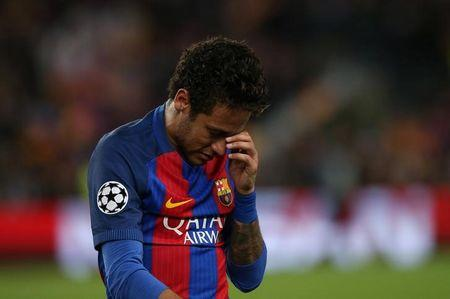 Football Soccer - FC Barcelona v Juventus - UEFA Champions League Quarter Final Second Leg - The Nou Camp, Barcelona, Spain - 19/4/17 Barcelona's Neymar looks dejected after the match  Reuters / Albert Gea Livepic