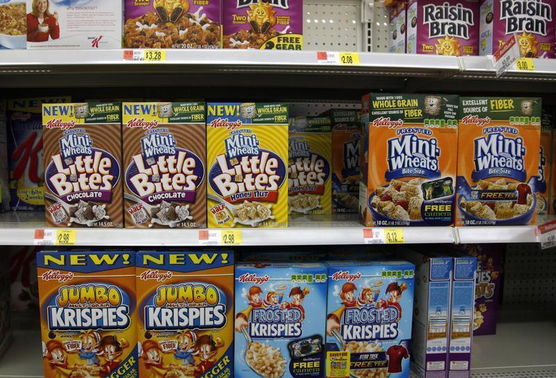 Boxes of Kellogg's cereal are displayed on store shelf in Westminster