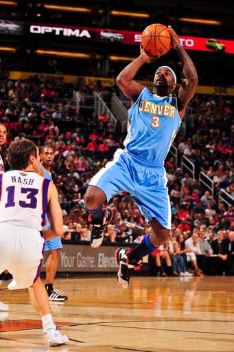 PHOENIX, AZ - APRIL 21: Ty Lawson #3 of the Denver Nuggets shoots against Steve Nash #13 of the Phoenix Suns on April 21, 2012 at U.S. Airways Center in Phoenix, Arizona. (Photo by Barry Gossage/NBAE via Getty Images)