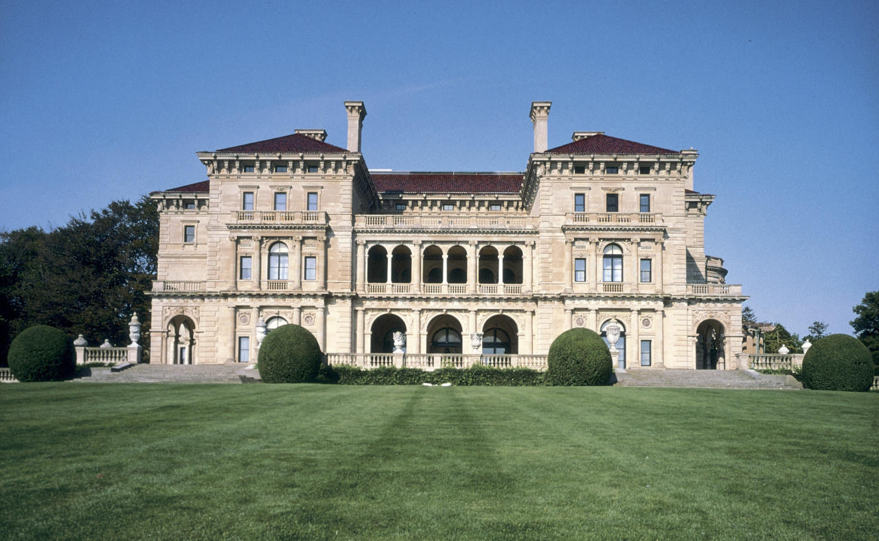 """This undated photo released by the Preservation Society of Newport County shows an exterior view of the mansion built by the Vanderbilt family as a summer """"cottage,"""" in Newport, R.I. called the Breakers. (AP Photo/Patrick O?Connor,The Preservation Society of Newport County)"""
