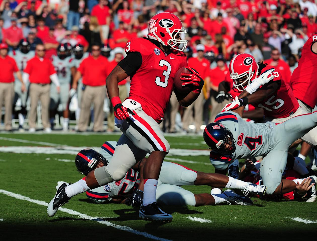 ATHENS, GA - NOVEMBER 3: Todd Gurley #3 of the Georgia Bulldogs carries the ball against the Ole Miss Rebels at Sanford Stadium on November 3, 2012 in Athens, Georgia. (Photo by Scott Cunningham/Getty Images)