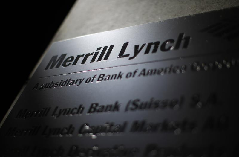 Logo of Merrill Lynch is pictured at a branch in Zurich