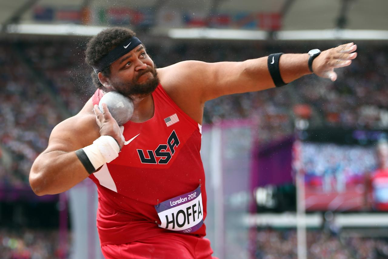 LONDON, ENGLAND - AUGUST 03: Reese Hoffa of the United States competes in the Men's Shot Put qualification on Day 7 of the London 2012 Olympic Games at Olympic Stadium on August 3, 2012 in London, England. (Photo by Michael Steele/Getty Images)