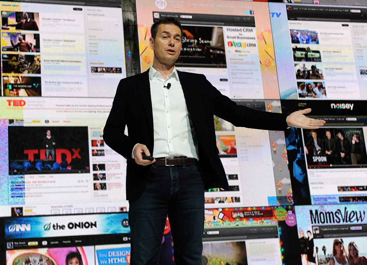 LAS VEGAS, NV - JANUARY 12:  Vice President of Global Content Partnerships at YouTube Robert Kyncl speaks during the Entertainment Matters keynote address at the 2012 International Consumer Electronics Show at the Las Vegas Hotel & Casino January 12, 2012 in Las Vegas, Nevada. CES, the world's largest annual consumer technology trade show, runs through January 13 and features more than 3,100 exhibitors showing off their latest products and services to about 140,000 attendees.  (Photo by Ethan Miller/Getty Images)