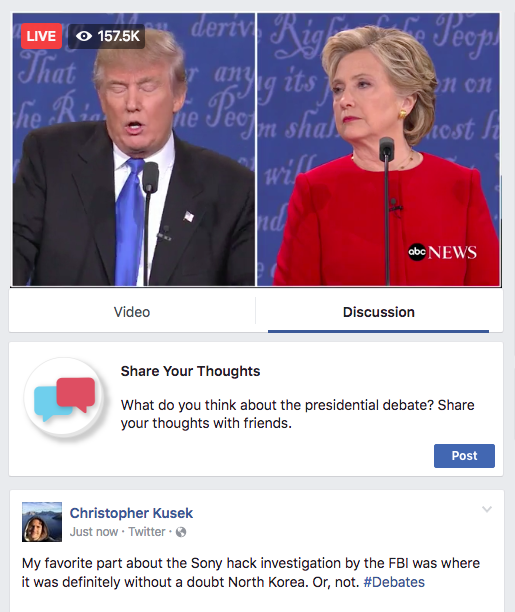 Facebook debate stream