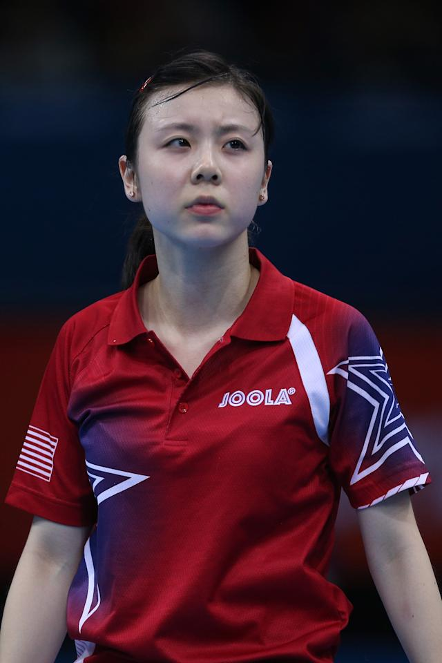 LONDON, ENGLAND - JULY 29:  Ariel Hsing of the United States looks on in her Women's Singles Table Tennis third round match against Xiaoxia Li of China on Day 2 of the London 2012 Olympic Games at ExCeL on July 29, 2012 in London, England.  (Photo by Feng Li/Getty Images)