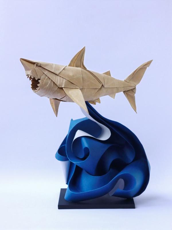 "Origami art - Great White Shark. Refolded and added a ""crazy wave""."