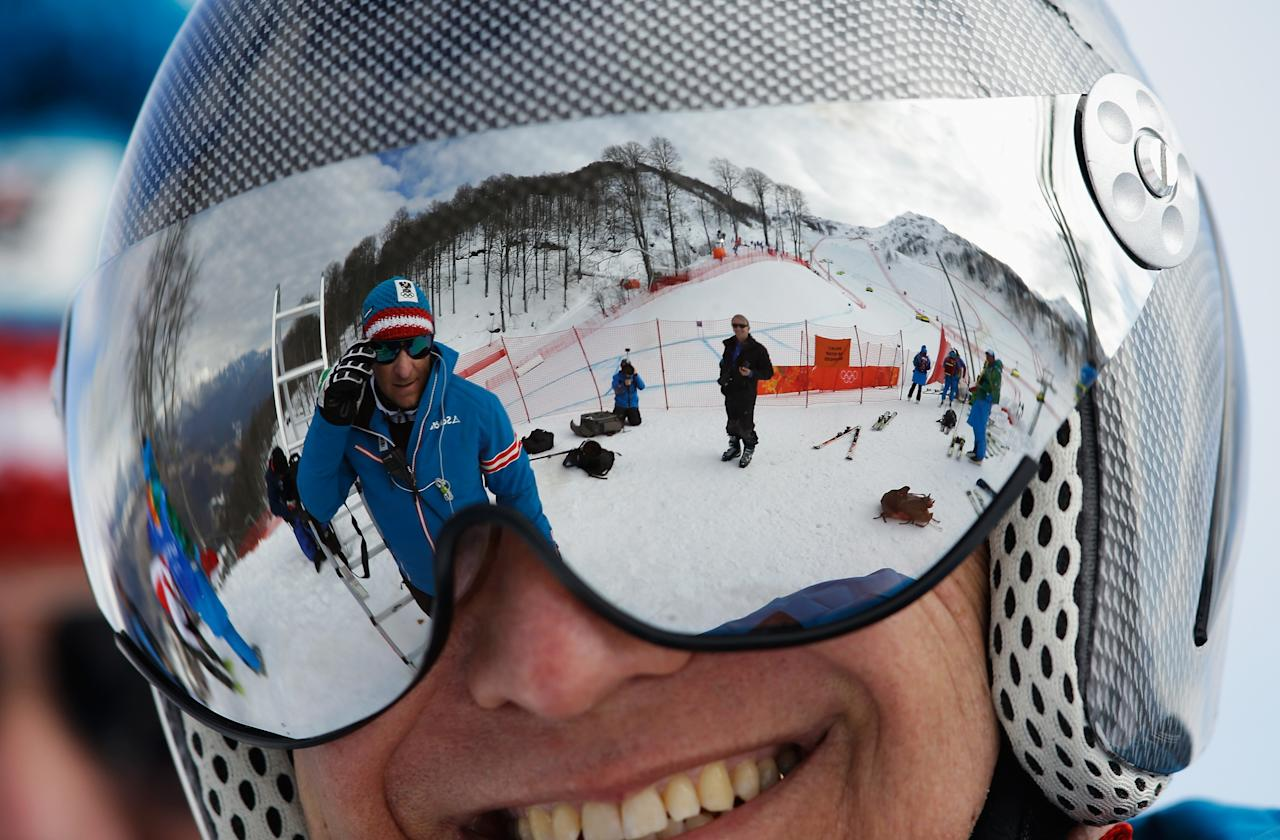 SOCHI, RUSSIA - FEBRUARY 10: A general view of a visor reflection during the Alpine Skiing Women's Super Combined Downhill on day 3 of the Sochi 2014 Winter Olympics at Rosa Khutor Alpine Center on February 10, 2014 in Sochi, Russia. (Photo by Ezra Shaw/Getty Images)