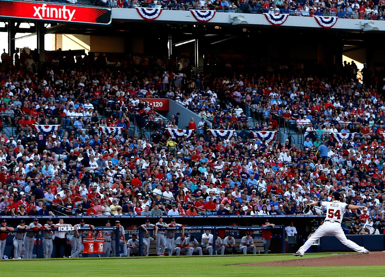 ATLANTA, GA - OCTOBER 05:  Kris Medlen #54 of the Atlanta Braves pitches in the third inning against the St. Louis Cardinals during the National League Wild Card playoff game at Turner Field on October 5, 2012 in Atlanta, Georgia.  (Photo by Kevin C. Cox/Getty Images)