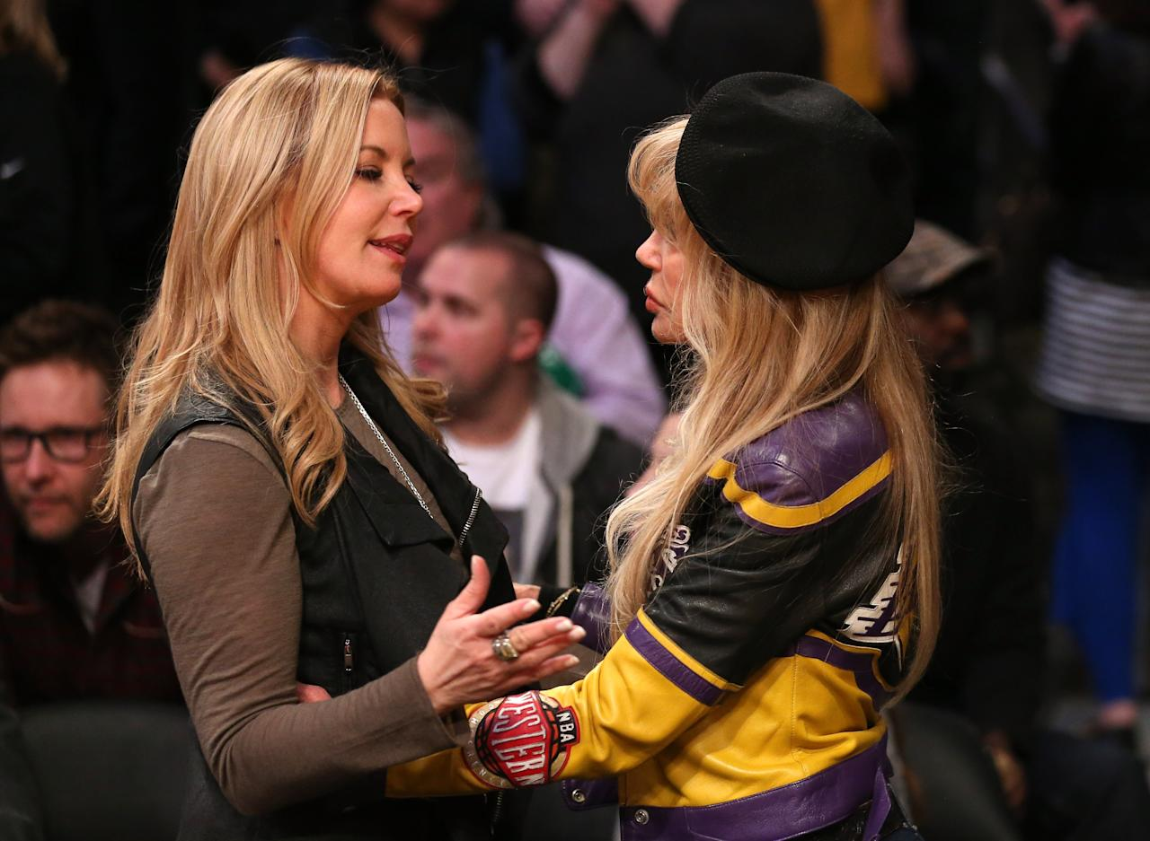 LOS ANGELES, CA - FEBRUARY 20:  Jeannie Buss, daughter of Los Angeles  Lakers late owner Dr. Jerry Buss, is greeted by actress and long time Laker fan Dyan Cannon before the game with the Boston Celtics at Staples Center on February 20, 2013 in Los Angeles, California.  NOTE TO USER: User expressly acknowledges and agrees that, by downloading and or using this photograph, User is consenting to the terms and conditions of the Getty Images License Agreement.  (Photo by Stephen Dunn/Getty Images)