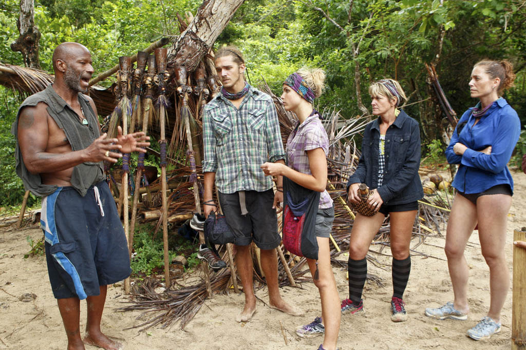 """Operation Thunder Dome"" - Phillip Sheppard talks with the Bikal Tribe during the sixth episode of ""Survivor: Caramoan - Fans vs. Favorites."""