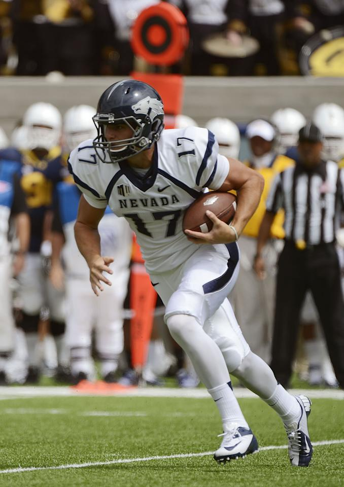BERKELEY, CA - SEPTEMBER 01:  Quarterback Cody Fajardo #17 of the University of Nevada runs with the ball against the University of California in the fourth quarter of an NCAA footbball game between the Nevada Wolf Pack and California Golden Bears at California Memorial Stadium on September 1, 2012 in Berkeley, California. Fajardo rushed for 112 yard and one touchdown. (Photo by Thearon W. Henderson/Getty Images)