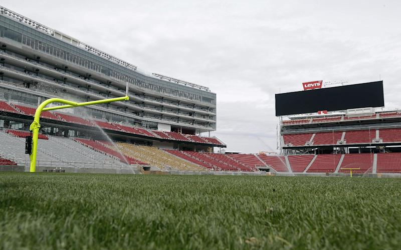 The newly-installed turf now covers the field at Levi's Stadium during a preview tour Monday, April 21, 2014, in Santa Clara, Calif. The installation of 2.5 acres of sod was completed over the weekend. The new home of the San Francisco 49ers football team opens in August