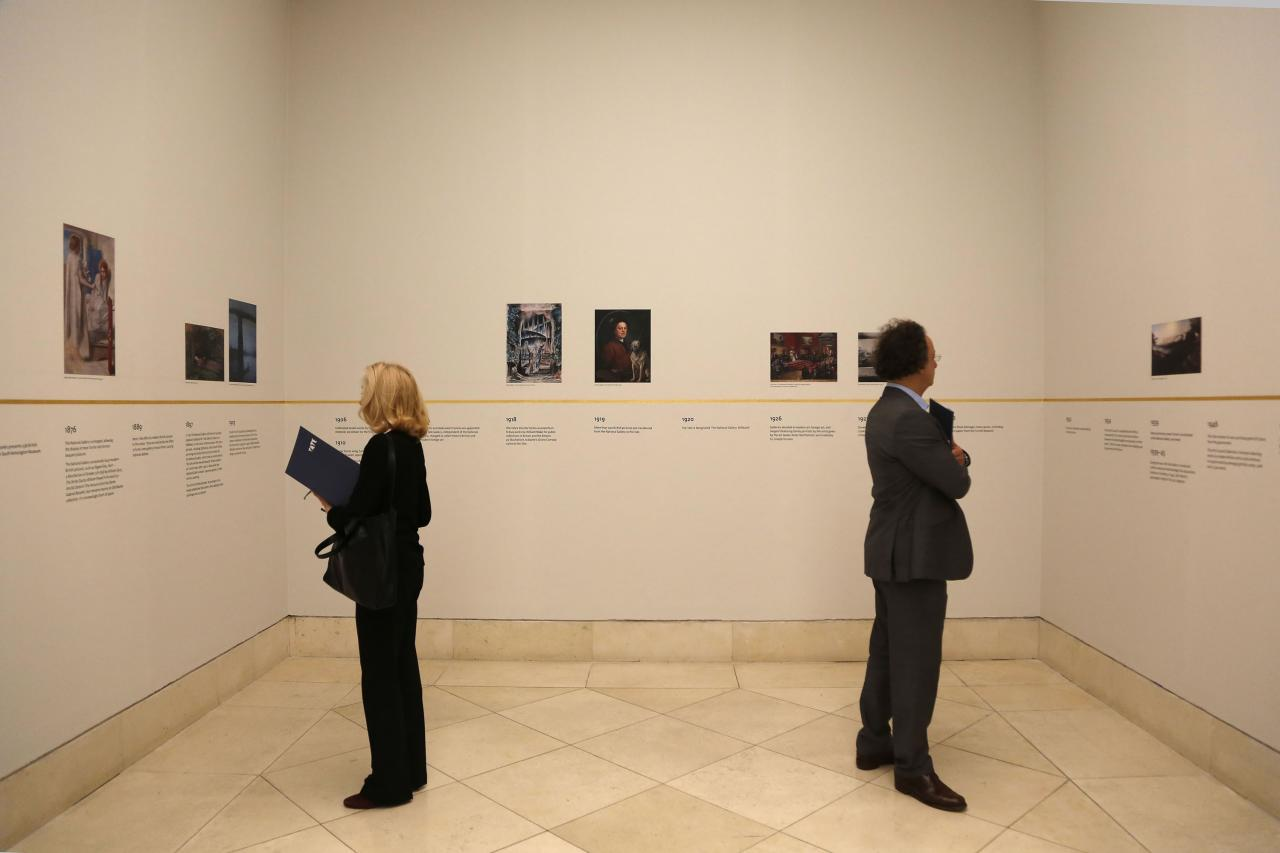 LONDON, UNITED KINGDOM - MAY 13: Visitors view a chronology of artwork on display at the Walk through British Art exhibition at Tate Britain on May 13, 2013 in London, England. Visitors will experience a completely new presentation of the world's greatest collection of British art, the national collection of British art will be displayed in a continuous and purely chronological display from the 1500s to the present day. (Photo by Warrick Page/Getty Images)
