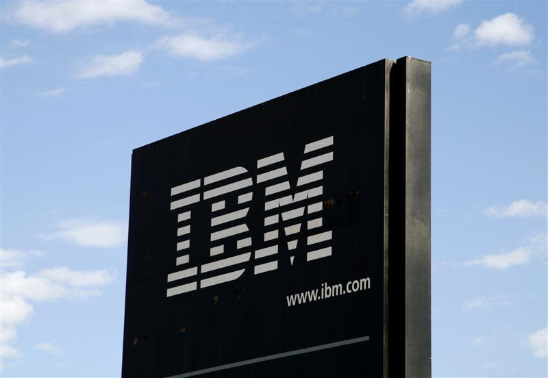 File photo of the company logo at the IBM facility near Boulder, Colarado