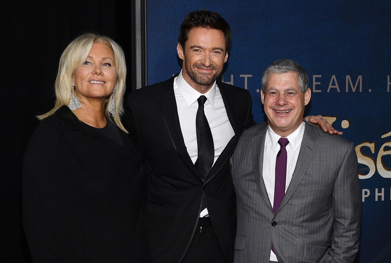 """NEW YORK, NY - DECEMBER 10: (L-R) Deborra-Lee Furness, Hugh Jackman, and Cameron Mackintosh attend the """"Les Miserables"""" New York Premiere at Ziegfeld Theater on December 10, 2012 in New York City.  (Photo by Larry Busacca/Getty Images)"""
