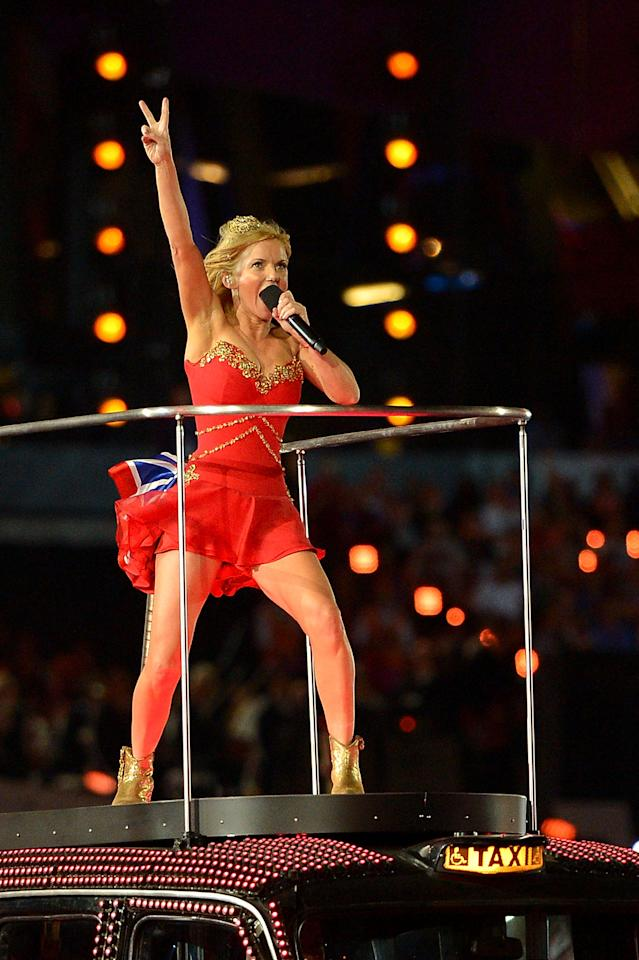 LONDON, ENGLAND - AUGUST 12:  Geri Haliwell of the Spice Girls performs during the Closing Ceremony on Day 16 of the London 2012 Olympic Games at Olympic Stadium on August 12, 2012 in London, England.  (Photo by Jeff J Mitchell/Getty Images)