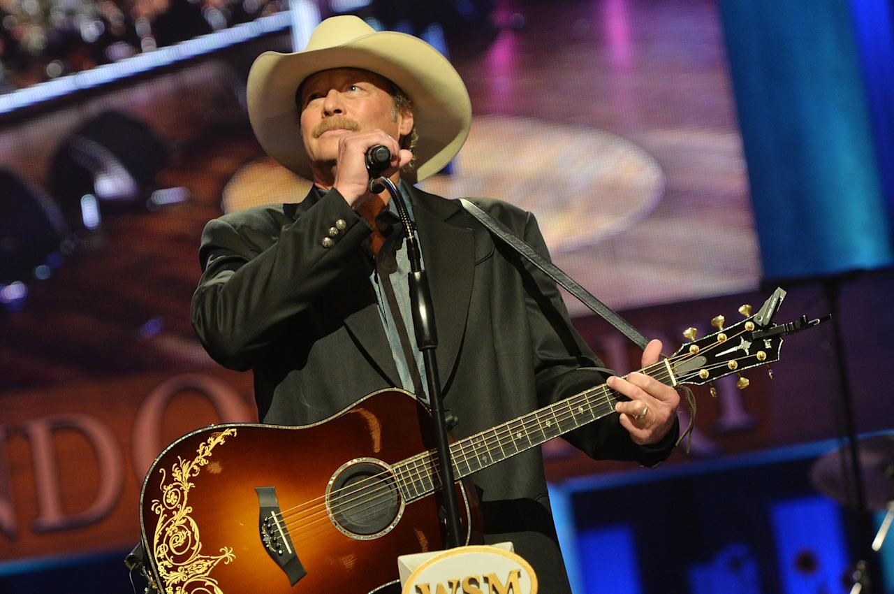NASHVILLE, TN - MAY 02:  (EXCLUSIVE COVERAGE) Country musician Alan Jackson performs at the funeral service for George Jones at The Grand Ole Opry on May 2, 2013 in Nashville, Tennessee. Jones passed away on April 26, 2013 at the age of 81.  (Photo by Rick Diamond/Getty Images for GJ Memorial)