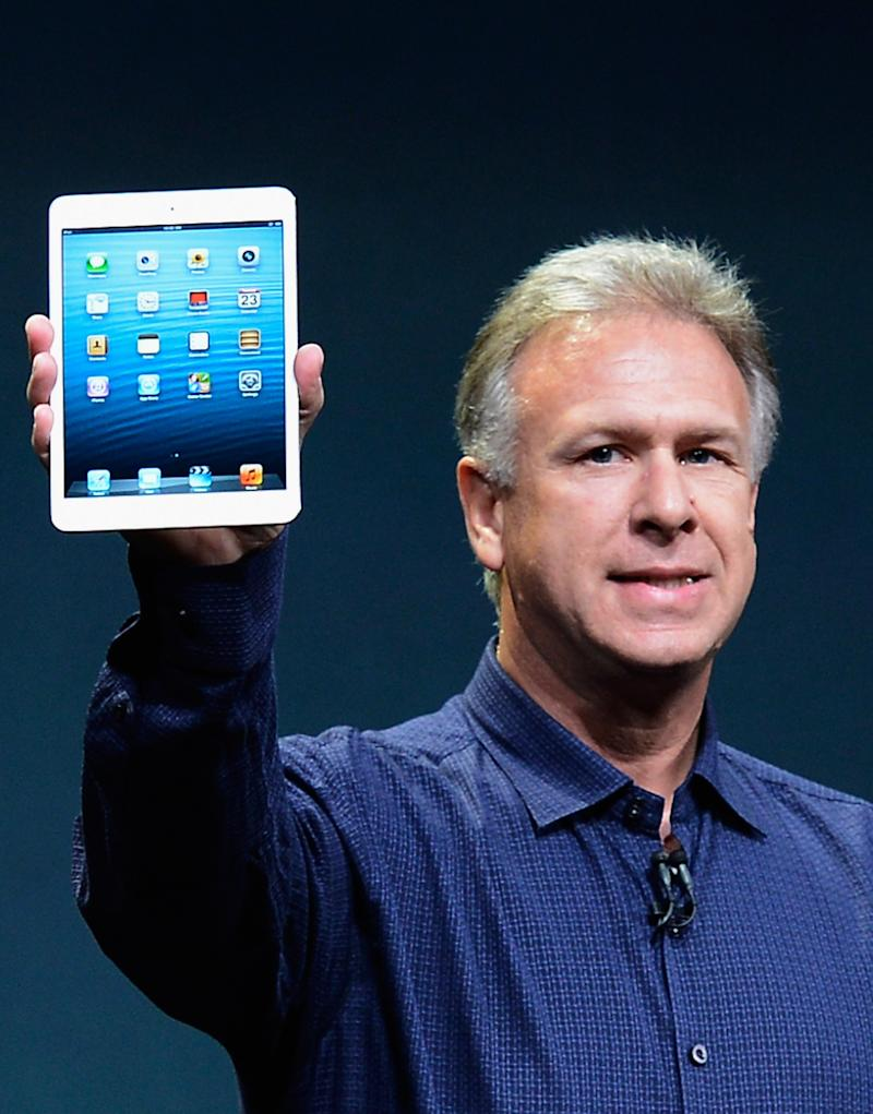 SAN JOSE, CA - OCTOBER 23:  Apple Senior Vice President of Worldwide product marketing Phil Schiller announces the new iPad Mini during an Apple special event at the historic California Theater on October 23, 2012 in San Jose, California. The iPad Mini is Apple's smaller version of the iPad tablet.  (Photo by Kevork Djansezian/Getty Images)
