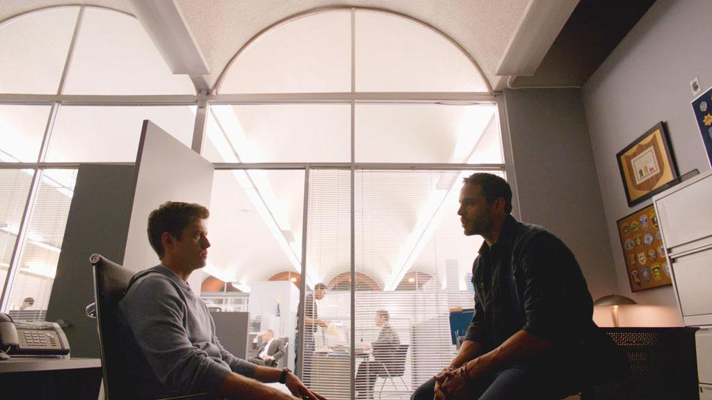 "Aaron Tveit as Mike Warren and Daniel Sunjata as Paul Briggs in the Series Premiere of USA Network's ""Graceland."""