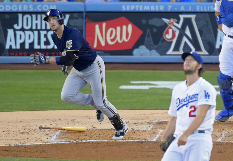 Brewers beat Dodgers with 2 HRs off Kershaw