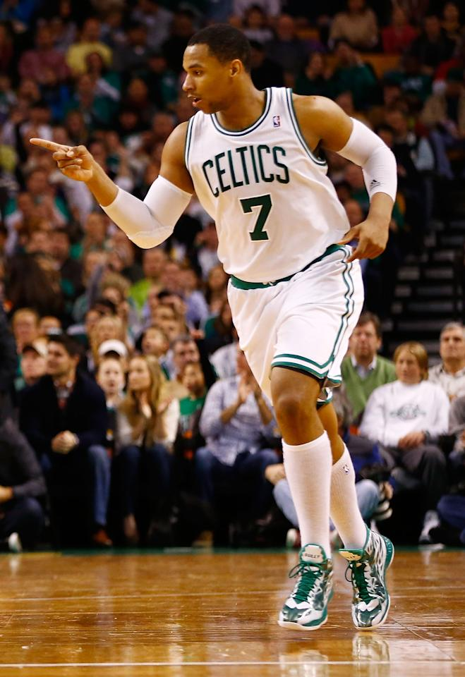 BOSTON, MA - JANUARY 4:  Jared Sullinger #7 of the Boston Celtics celebrates after making a shot against the Indiana Pacers during the game on January 4, 2013 at TD Garden in Boston, Massachusetts. NOTE TO USER: User expressly acknowledges and agrees that, by downloading and or using this photograph, User is consenting to the terms and conditions of the Getty Images License Agreement. (Photo by Jared Wickerham/Getty Images)