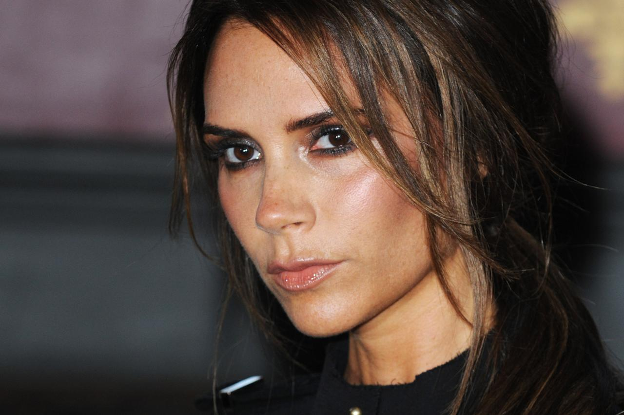 "LONDON, ENGLAND - JUNE 26: (UK TABLOID NEWSPAPERS OUT) Victoria Beckham of The Spice Girls attends a press launch of new Spice Girls musical ""I'll Tell You What I Want What I Really Really Want..."" at The St. Pancras Renaissance London Hotel on June 26, 2012 in London, England. (Photo by Dave Hogan/Getty Images)"