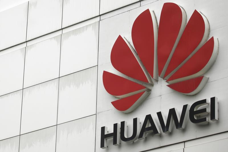 The logo of the Huawei Technologies Co. Ltd. is seen outside its headquarters in Shenzhen, Guangdong province