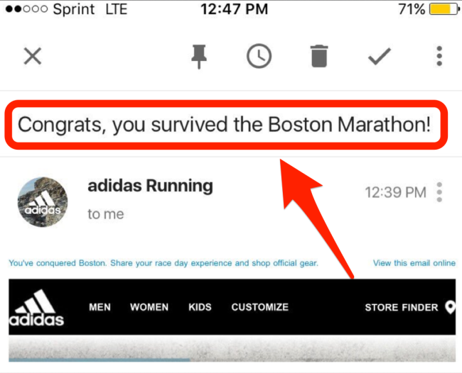 'You Survived The Boston Marathon!' Email From Adidas Has Twitter Cringing