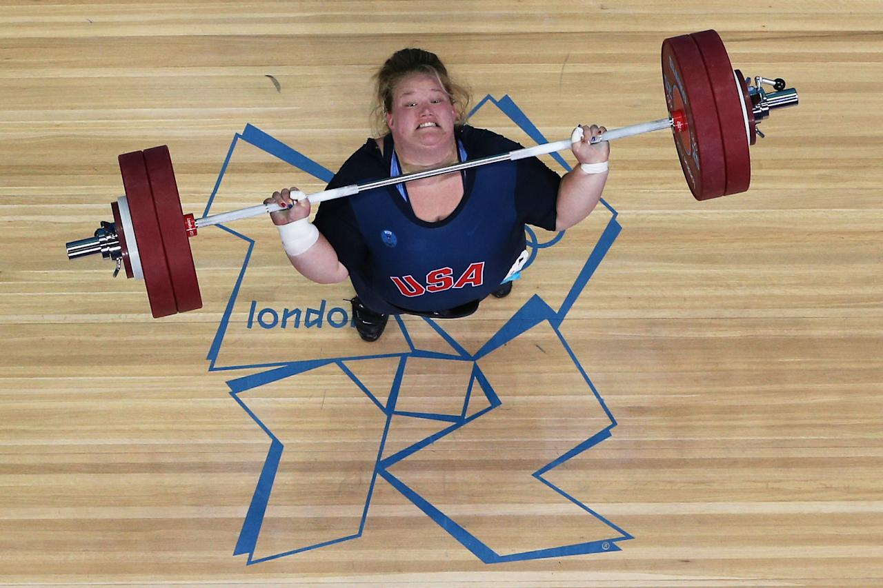 LONDON, ENGLAND - AUGUST 05:  Holley Mangold of the United States competes during the Women's 75kg Weightlifting on Day 9 of the London 2012 Olympic Games at ExCeL on August 5, 2012 in London, England.  (Photo by Rob Carr/Getty Images)