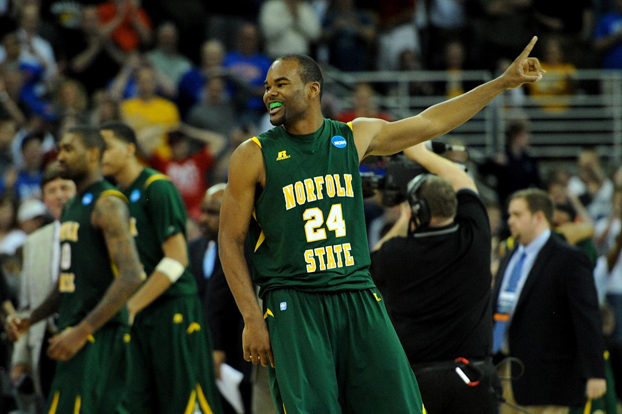 OMAHA, NE - MARCH 16:  Brandon Wheeless #24 of the Norfolk State Spartans celebrates after they won 86-84 against the Missouri Tigers during the second round of the 2012 NCAA Men's Basketball Tournament at CenturyLink Center on March 16, 2012 in Omaha, Nebraska.  (Photo by Eric Francis/Getty Images)
