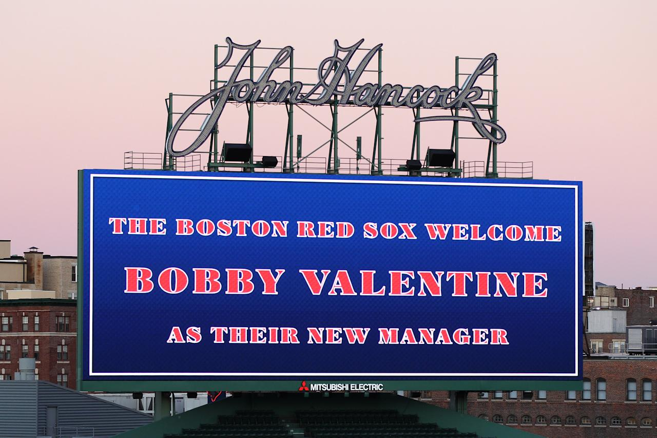 BOSTON, MA - DECEMBER 01:  A message on the scoreboard welcomes Bobby Valentine as the new manager of the Boston Red Sox prior to a press conference at Fenway Park on December 1, 2011 in Boston, Massachusetts.  (Photo by Elsa/Getty Images)