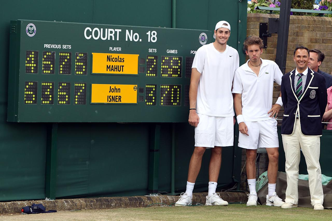 """<p class=""""MsoNormal""""><span>The marathon game: John Isner vs. Nicolas Mahut. In <b>2010</b>, Wimbledon witnessed the longest-ever tennis match, lasting just over 11 hours over the course of three days. Isner won the final set (70-68) to prevail, but both players would go down in history for sharing a record that may never be broken.</span></p><p class=""""MsoNormal"""">(Photos: Getty Images)<br><span></span><span></span></p>"""