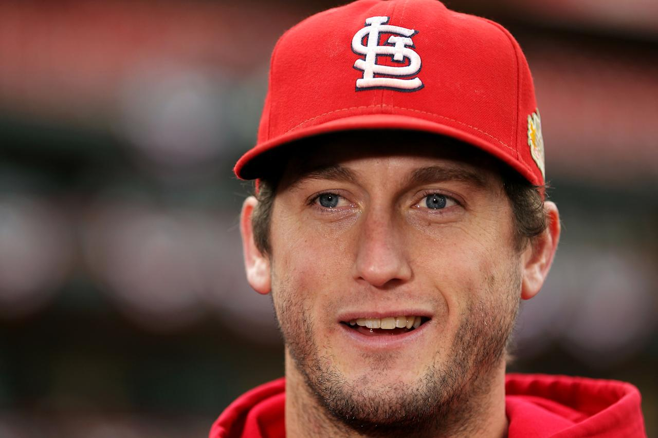 ST LOUIS, MO - OCTOBER 20:  David Freese #23 of the St. Louis Cardinals on the field during warmups prior to Game Two of the MLB World Series against the Texas Rangers at Busch Stadium on October 20, 2011 in St Louis, Missouri.  (Photo by Ezra Shaw/Getty Images)