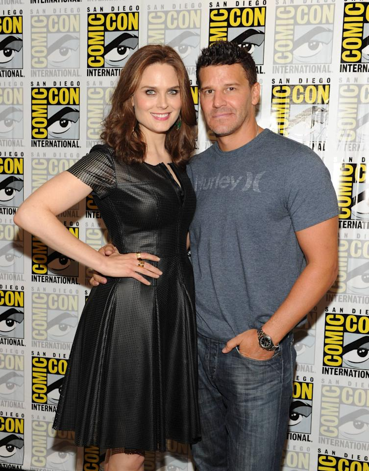 """""""Bones"""" cast members Emily Deschanel and David Boreanaz on Friday, July 19 during Fox Fanfare at San Diego Comic-Con 2013."""