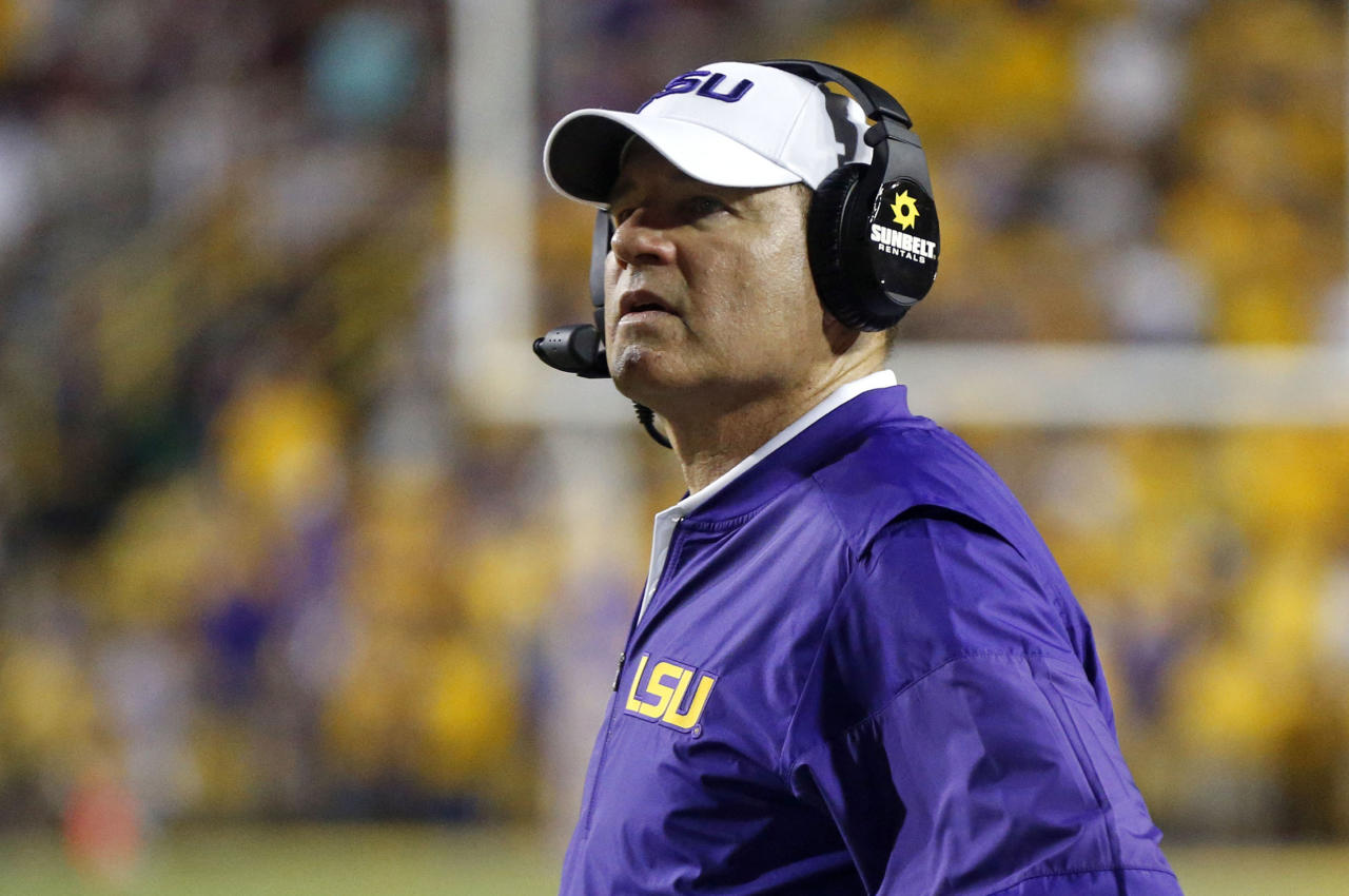 FILE - This Sept. 17, 2016 file photo shows LSU head coach Les Miles watching from the sideline in the second half of an NCAA college football game against Mississippi State in Baton Rouge, La. Two people familiar with the decision say LSU has fired Miles and offensive coordinator Cam Cameron and promoted defensive line coach Ed Orgeron to interim head coach. The person spoke to The Associated Press on Sunday, Sept. 25, 2016 on condition of anonymity because no announcement has been made. Miles firing comes one day after LSU lost 18-13 at Auburn. (AP Photo/Gerald Herbert, file)