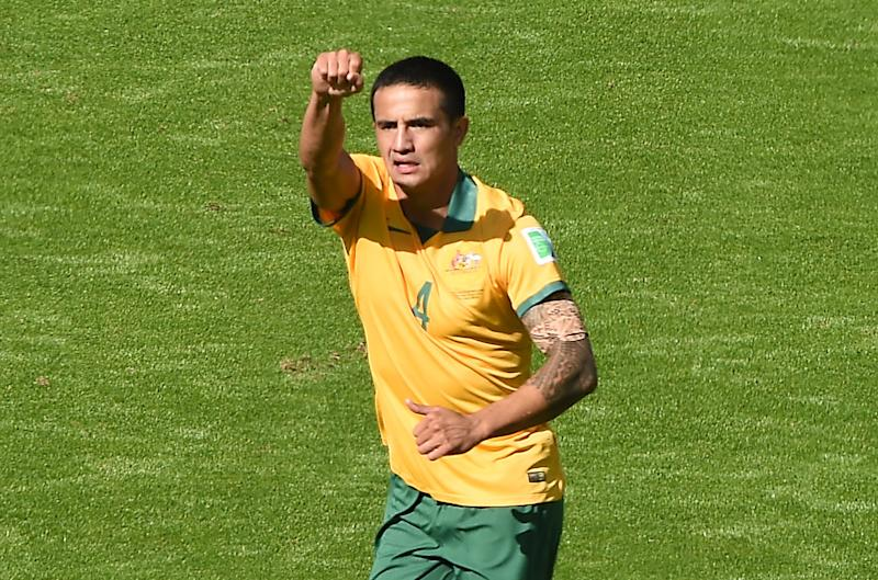 Australia's Tim Cahill celebrates after scoring during a World Cup match in Porto Alegre on June 18, 2014