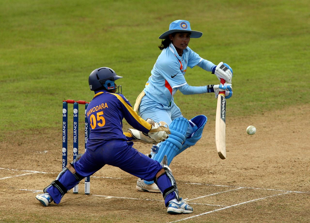 [ICCWWC2013] TAUNTON, ENGLAND - JUNE 15:  Mithali Raj of India clips the ball away during the ICC Women's Twenty20 World Cup match between India and Sri Lanka at The County Ground on June 15, 2009 in Taunton, England.  (Photo by Richard Heathcote/Getty Images)