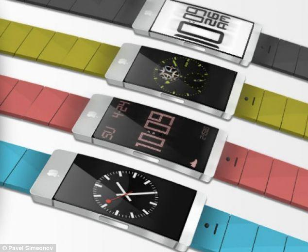 """<p>Pavel Simenov's iWatch design from January 2013 includes interchangeable coloured bands that let the wearerd match the watch to their outfits.</p> <p>For more of Simenov's designs, visit: <a href=""""http://justdesignthings.com/iwatch.html"""" target=""""_blank"""">http://justdesignthings.com/iwatch.html</a></p>"""