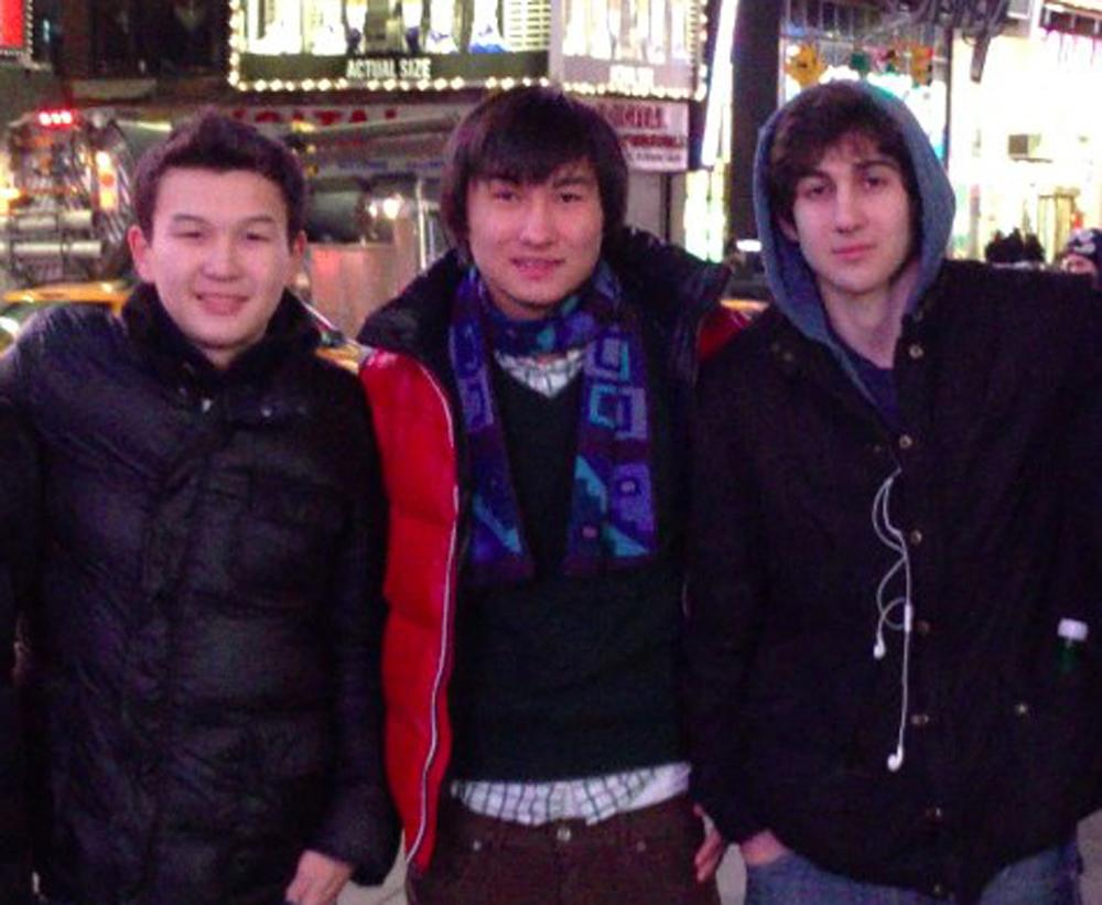 This undated photo added on April 18, 2013 to the VK page of Dias Kadyrbayev shows, from left, Azamat Tazhayakov and Dias Kadyrbayev, from Kazakhstan, with Boston Marathon bombing suspect Dzhokhar Tsarnaev in Times Square in New York. Kadyrbayev and Tazhayakov, two college buddies of Tsarnaev, were jailed by immigration authorities the day after Tsarnaev's capture. They are not suspects, but are being held for violating their student visas by not regularly attending classes, Kadyrbayev's lawyer, Robert Stahl said. They are being detained at a county jail in Boston. (AP Photo/VK)